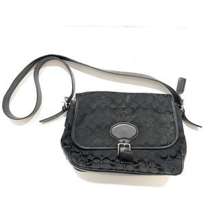 Coach Signature Black Canvas Leather Satchel Bag